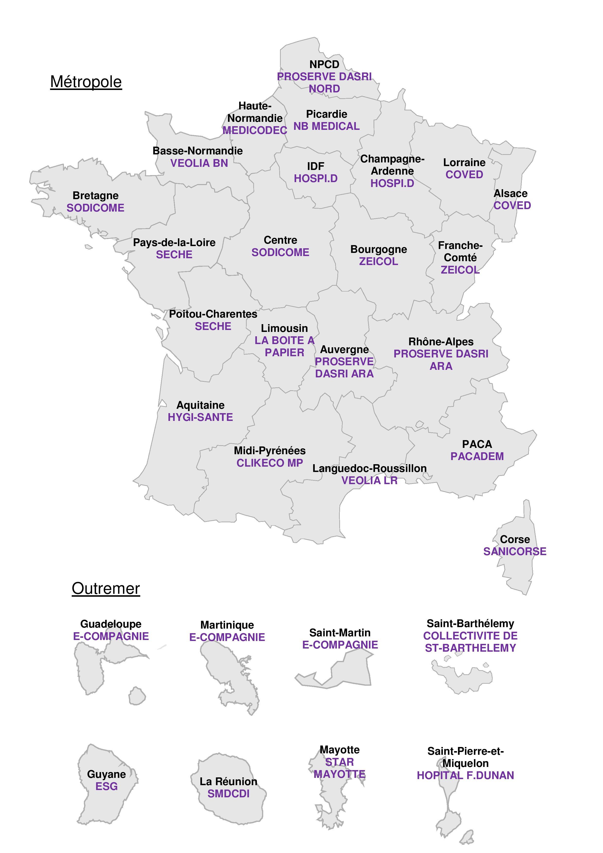 Carte des opérateurs de collecte 2018