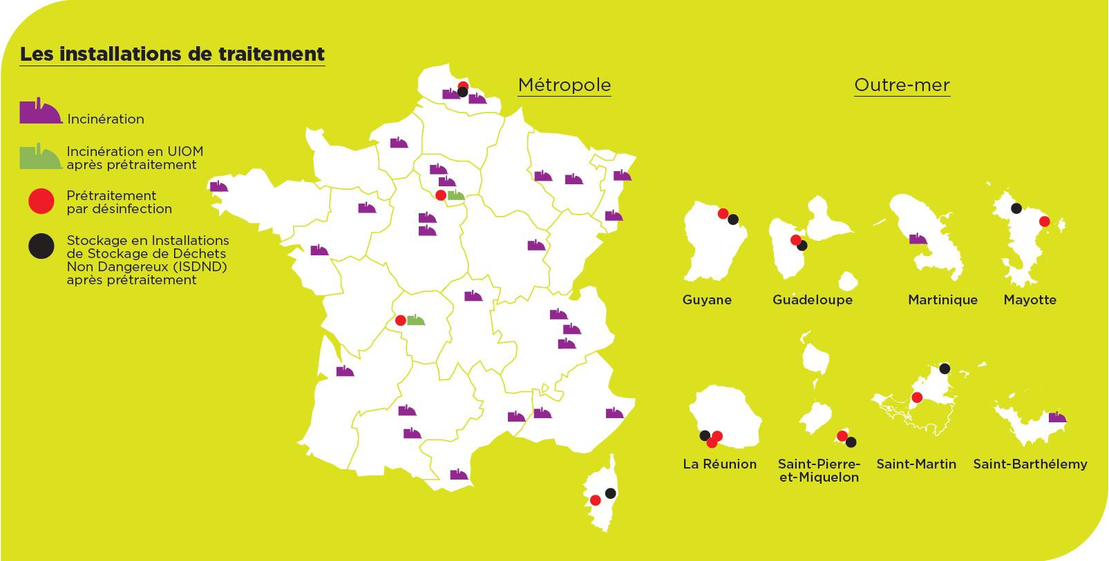 Carte des installations de traitement 2020