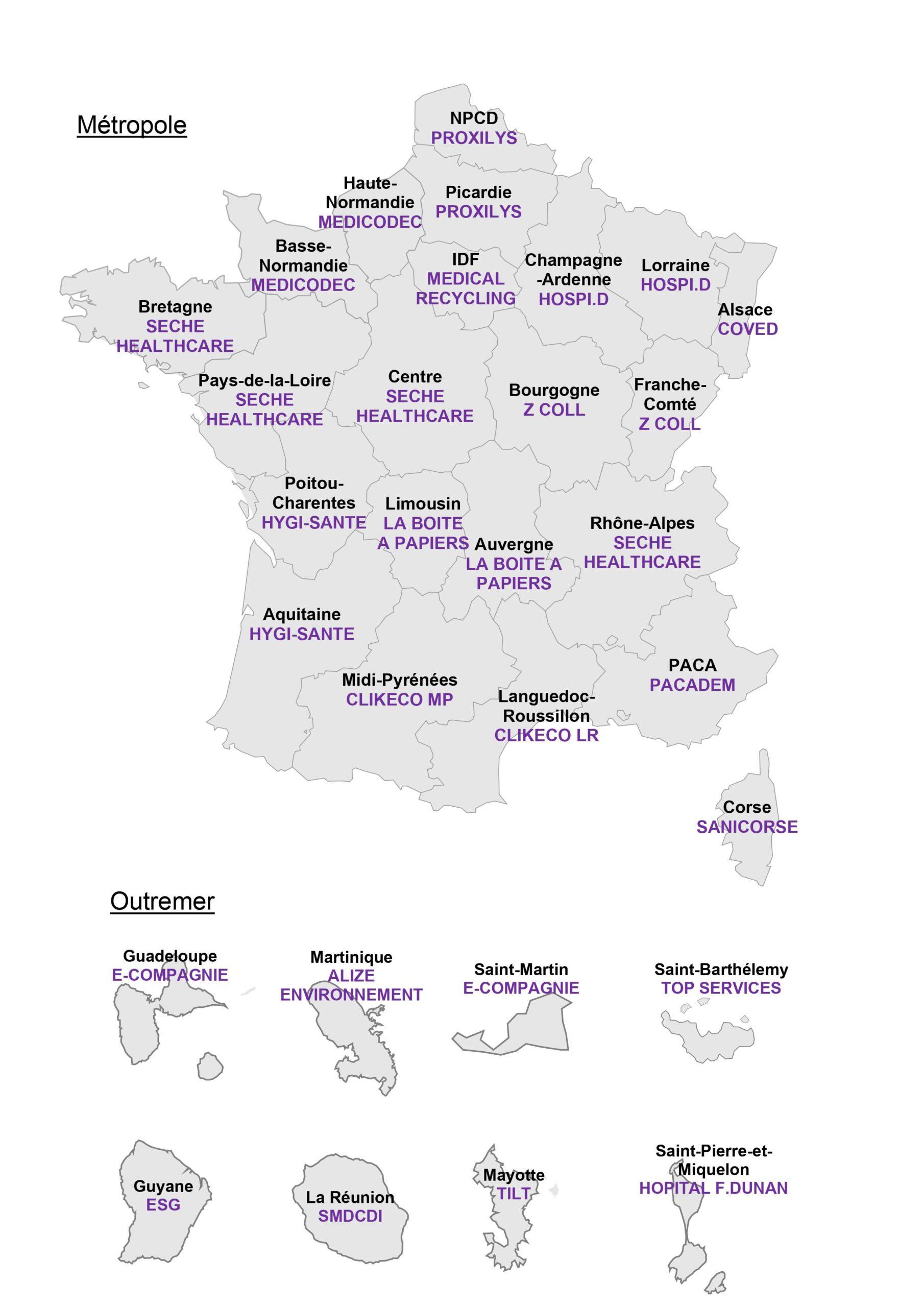 Carte des opérateurs de collecte 2021